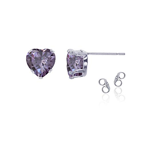 (Sterling Silver Rhodium 5x5mm Heart Amethyst Stud Earring with Clutch)