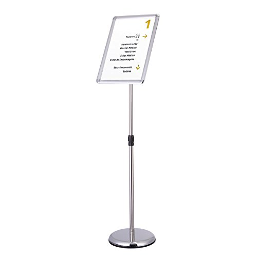 A3 Adjustable Pedestal Sign Holder Floor Stand Telescoping Post Poster Silver + FREE E-Book (Poster Frame Pedestal)