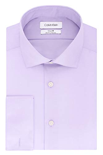 Calvin Klein Men's Non Iron Slim Fit French Cuff Dress Shirt, Lilac, 15