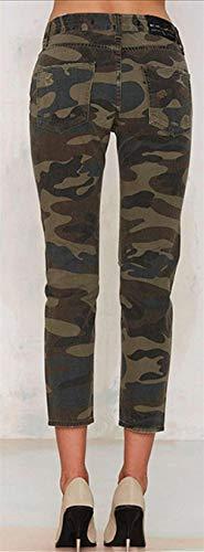Elásticos Camuflaje Pantalones Mujer Color1 Elástica Streetwear Mezclilla Con Modernas Vaqueros Casual Agujero De Cintura nggCwS6q