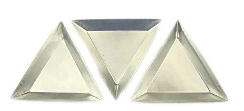 Set of 3 Triangular Aluminum Gold Trays-Boats-Beads Fill vials & Weigh ()
