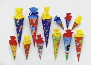 School Cone Double 15 cm Crepe Glossy Cardboard Pack of 20