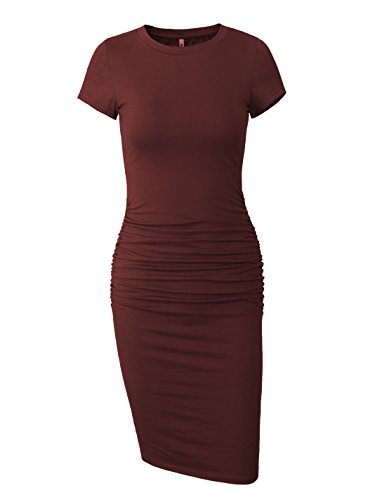 - Women's Ruched Casual Sun Dress Midi Bodycon Summer T Shirt Dress (Wine Red, Small)