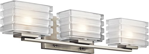 - Kichler 45479NI Bazely Bath 3-Light Halogen, Brushed Nickel