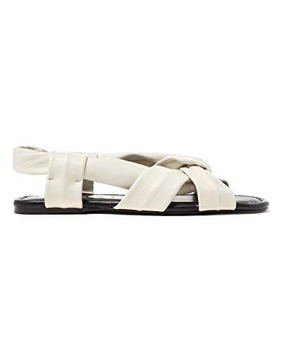 Bimba y Lola Damen Flat White Leather Straps Sandals 181BZ0730