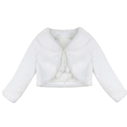 iEFiEL Girls Baptism Flower Dress Wedding Faux Fur Bolero Jacket Shrug Ivory 7-8 by iEFiEL