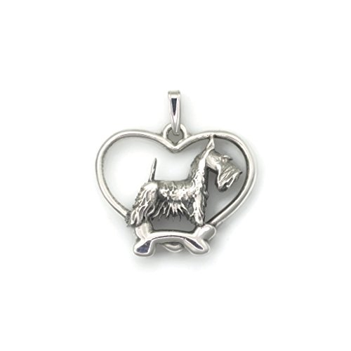 Sterling Silver Scottish Terrier Pendant, Silver Scottie Necklace, Fine Scottish Terrier Jewelry fr Donna Pizarro's Animal Whimsey Collection by Donna Pizarro Designs