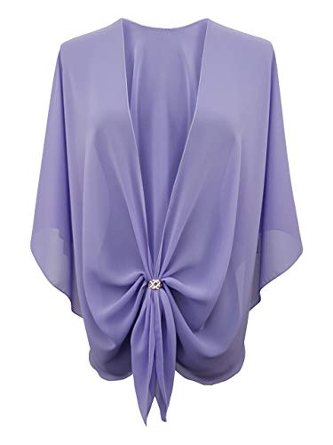 eXcaped Womens Evening Shawl Sheer Chiffon Cape Rose Gold Scarf Ring Set - Lilac
