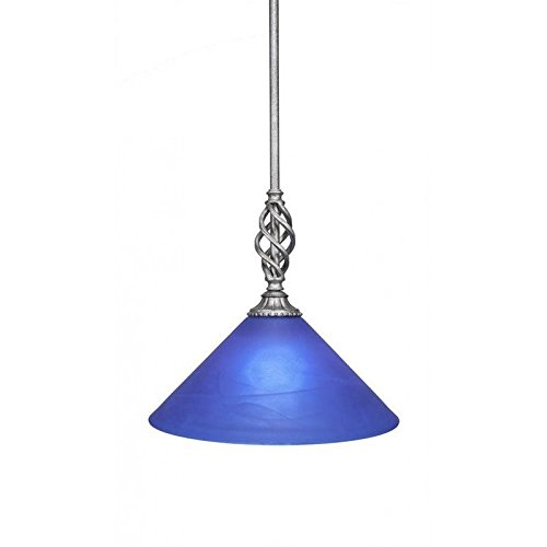 Toltec Lighting 80-AS-4152 Elegante Mini Pendant with Hang Straight Swivel Shown in Aged Silver Finish with 12-Inch Blue Italian Glass