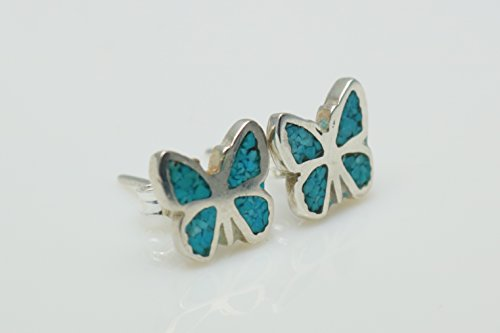 Butterfly Turquoise Micro Mosaic Sterling Silver Stud Earrings, Semi Precious Gemstone by Handmade Studio