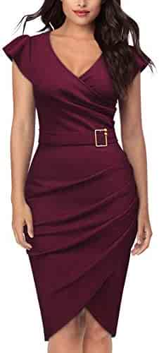 2c9ed1353b0d Knitee Women's Vintage Short Sleeve V-Neck Office Evening Nightout Cocktail  Party Bodycon Sheath Dress