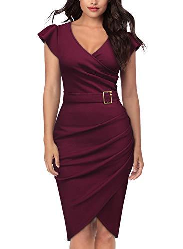 Knitee Women's 3/4 Sleeve V-Neck Pleated Office Evening Nightout Cocktail Party Bodycon Sheath Dress