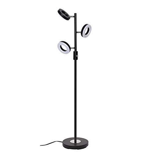 SUNLLIPE 3 Light Floor Lamp, Tree Floor Lamp Adjustable, 60 Inch 21W Modern Sturdy Standing Lamp Uplight for Living Room, Bedroom and Office-Jet Black