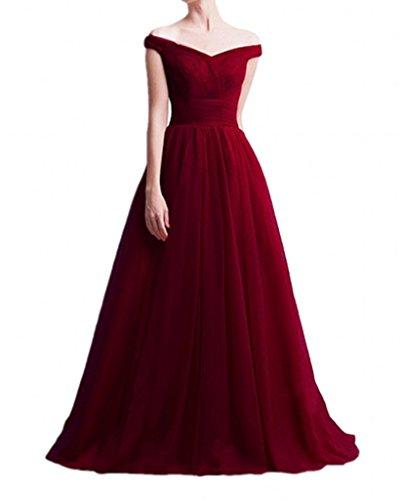 Abendkleider Kleider Kleider Festliche Ausschnitt Damen Brautmutterkleider Braut Jugendweihe Weinrot Marie V La Elegant xRn8v