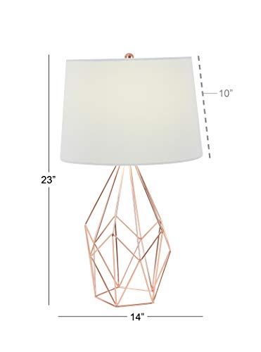 Deco 79 58661 Asymmetrical Metal Wire Table Lamp, Copper/Whi