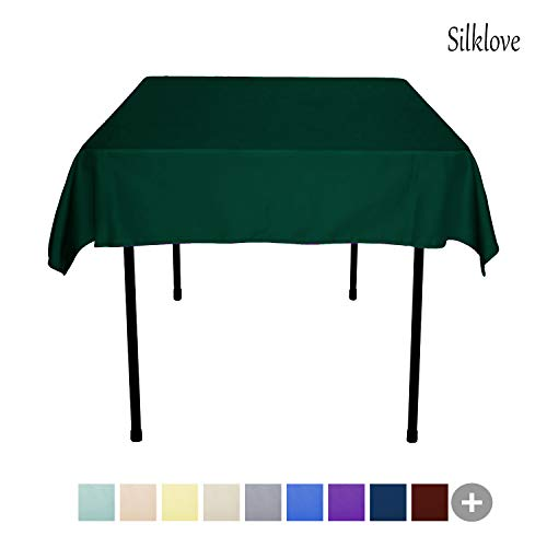 SilkLove Tablecloth - 54 x 54 Inch -Hunter-Green-Square Polyester Table Cloth, Wrinkle,Stain Resistant - Great for Buffet Table, Parties, Holiday Dinner & More