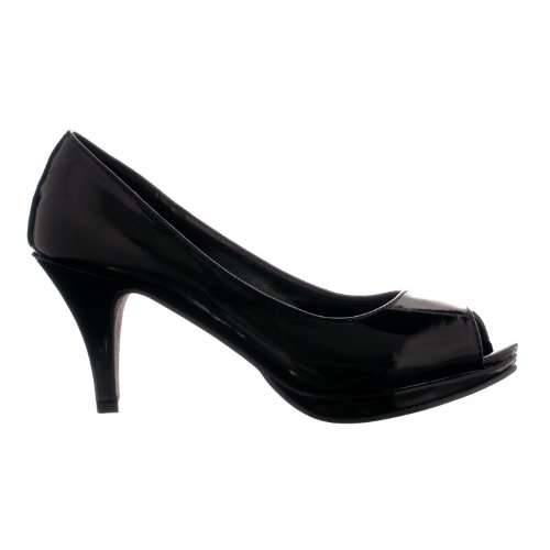 heel Peep Womens Patent Flourish Pumps Nicole 12 Toe Mid Black Patent xCxZ0d