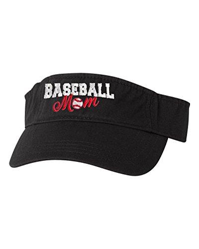 Go All Out Adjustable Black Adult Baseball Mom Embroidered Visor Dad -
