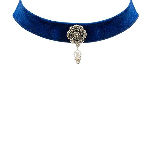 Alpenflüstern Damen Trachten-Samtkropfband Frida blau DHK16800060