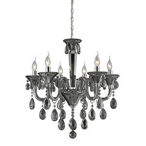 Nulco Chrome Chandelier - Elk 80012/6 Formont 6-Light Chandelier with Smoke Plated Crystal Glass Shade, Polished Chrome Finish, 25