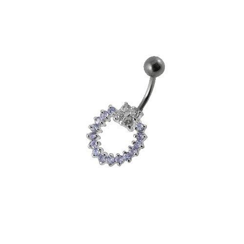 Piercing Nombril Argent 925/1000 Anneau Mobile Cristal Violet