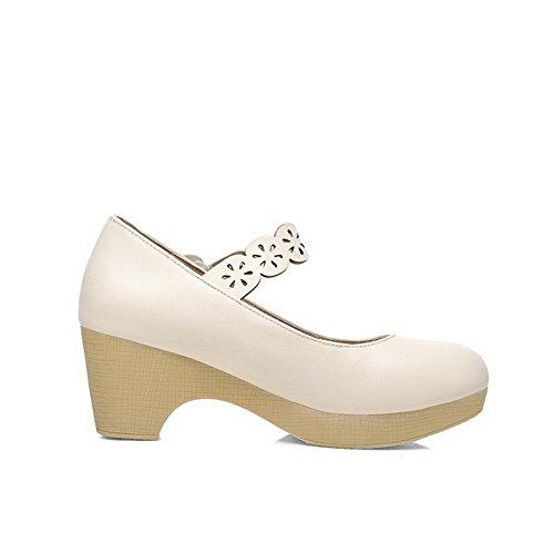 Balamasa Womens Tacco Piattaforma Tacco Grosso Tomaie Basse Uretano Pompe-scarpe Bianche