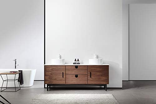 PORTREE 72 Walnut MID-Century Free Standing Bathroom Vanity