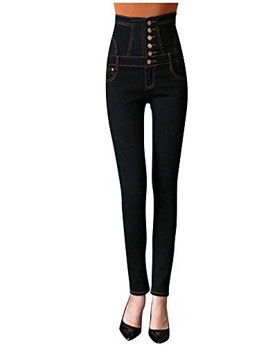 ZiXing Nuevo Tipo de Mujer Cuatro Botones Skinny Denim Mameluco Mono Babero Pantalones Largos Negro