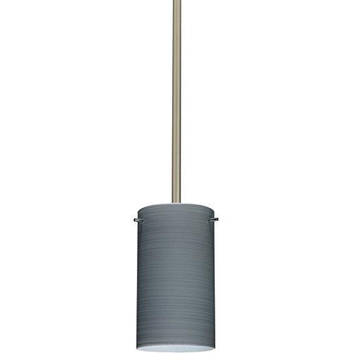 4404tn Led - Besa Lighting 1TT-4404TN-LED-SN 1X6W Gu24 Led Stilo 7 Pendant with Titan Glass, Satin Nickel Finish