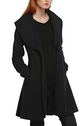 Sholdnut Ladies Winter Plus Size Turn-Down Collar Flare Hem Coat Aline Thicken Woolen Cape Pocho (Wool Swing Coat)