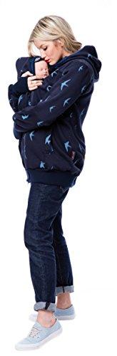 GoFutureWithLove - Chaqueta - Manga Larga - para mujer Marine mit hellblauen Vögeln