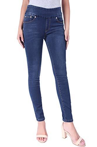 (BodiLove Women's Stretchy Comfy Shaping Pull On Skinny Denim Jeans Dark Denim 10)