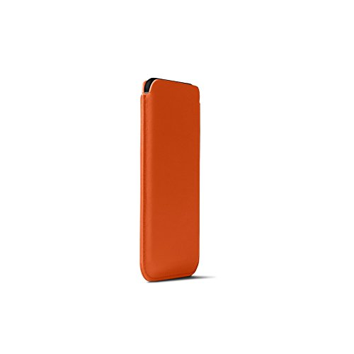 ❥ Lucrin - Leather Case with Pull Tab Compatible with iPhone XR and Wireless Charging - Orange - Genuine Leather orange iphone xr case 5