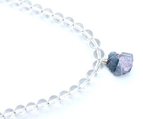 Clear Quartz Crystal Necklace with Simple Aqua Aura Wire Wrap