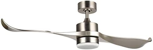 CO-Z 52-Inch Ceiling Fan with 2 Silver ABS Blades and White Glass 15W LED Light Kit, Brushed Nickel Finish Brushed Nickel