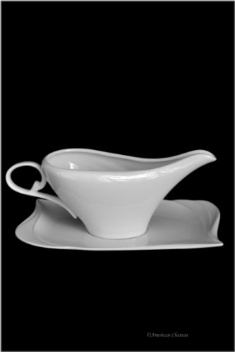 - Large 8oz White Porcelain Gravy Sauce Bowl Boat With Tray (Gift Boxed)