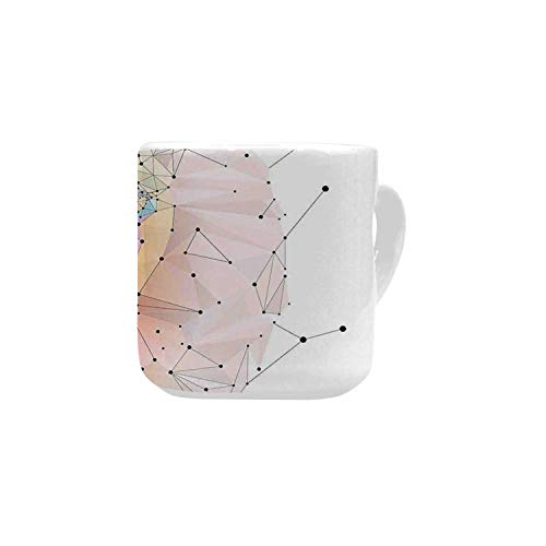 Geometric White Heart Shaped Mug,Lion Head Art Geometric Graphic in Digital Triangle Rainbow Pattern Retro Decor for Home,2.56