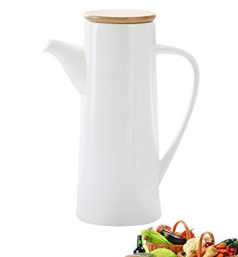 MAI&BAO Oil Vinegar Bottle Pot Dispenser Kitchen Ceramics Olive Sauce Dispenser Dust Proof and Leak-Proof with Pouring Spout Wooden Bottle Cap Prevents Oxidation 470ML White