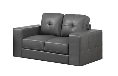 Monarch Bonded Leather Match Love Seat with Sleek Contemporary Silver Metal Feet, Charcoal Grey