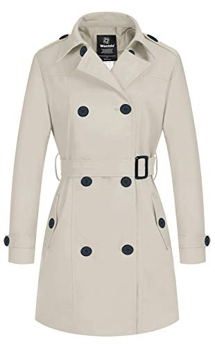 Wantdo Women's Double-Breasted Trench Coat Classic Lapel Overcoat Slim Outerwear Coat with Belt