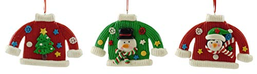 - Gerson Festive Christmas Sweater Clay Dough Hanging Ornaments - Set of 3