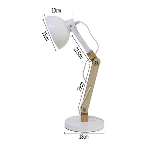 Great St. 5W LED Eye Protection Reading Light Study Room Children Learning Table Lamp Bedside Lamp Solid Wood Desk Lamp FGD (Color : White) by Great St. (Image #3)