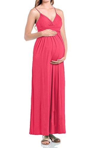 Beachcoco Women's Maternity Sweetheart Party Maxi Dress (L, Coral)