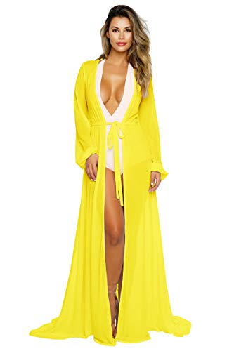 (Pink Queen Women's Long Sleeve Flowy Maxi Bathing Suit Swimsuit Tie Front Robe Cover Up Yellow M)