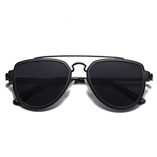 SOJOS Fashion Polarized Aviator Sunglasses for Men Women Mirrored Lens SJ1051 with Black Frame/Grey Lens
