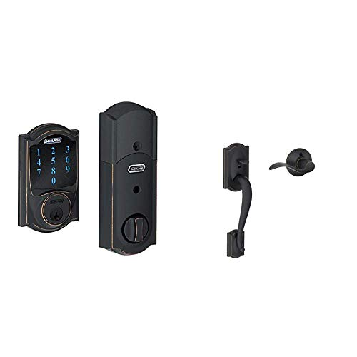 Schlage Z-Wave Connect Camelot Touchscreen Deadbolt with Built-In Alarm, Aged Bronze, Wink or Iris with Camelot Front Entry Handle Accent Right-Handed Interior Lever