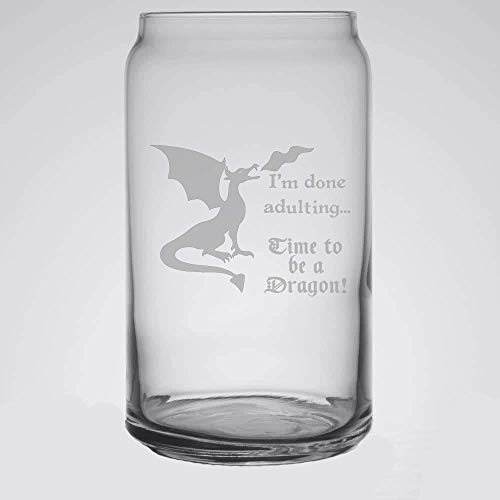 Time To Be A Dragon Beer Can Glass