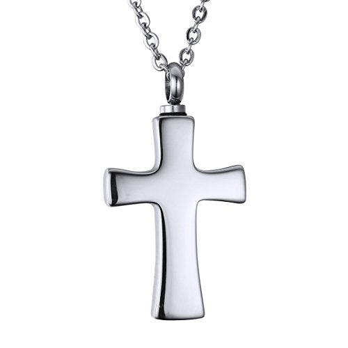 Valyria Jewelry Silver Cross Charm Pendant Urn Keepsake Cremation Ashes Necklace