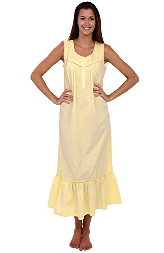 Alexander Del Rossa Womens Patricia Cotton Nightgown, Extensive Victorian Sleeveless Sleepwear, Small Sunrise Yellow (A0526YELSM)