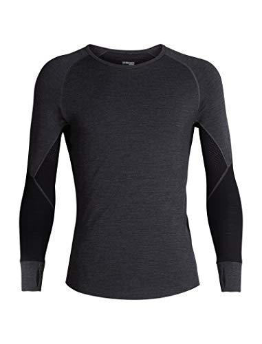 Icebreaker Merino Men's 260 Zone Long Sleeve Crew Neck Shirt, Jet HTHR/Black/Mineral, Small
